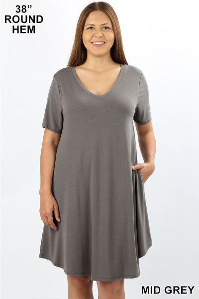 Curvy T-Shirt Dress in Grey