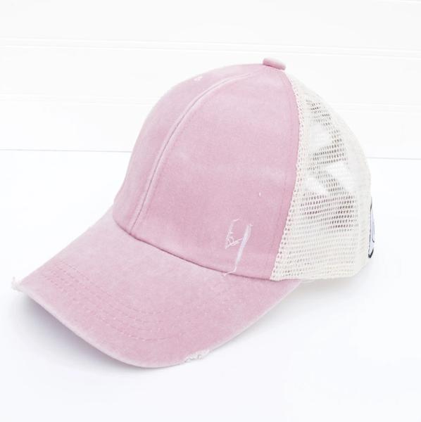 Distressed Criss Cross Ponytail Baseball Hat Pink
