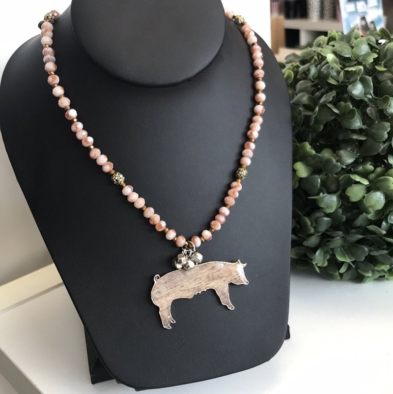 Suzan Beaded Pig Necklace