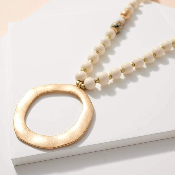 O Pendant Wood Stone Beads Long Necklace white