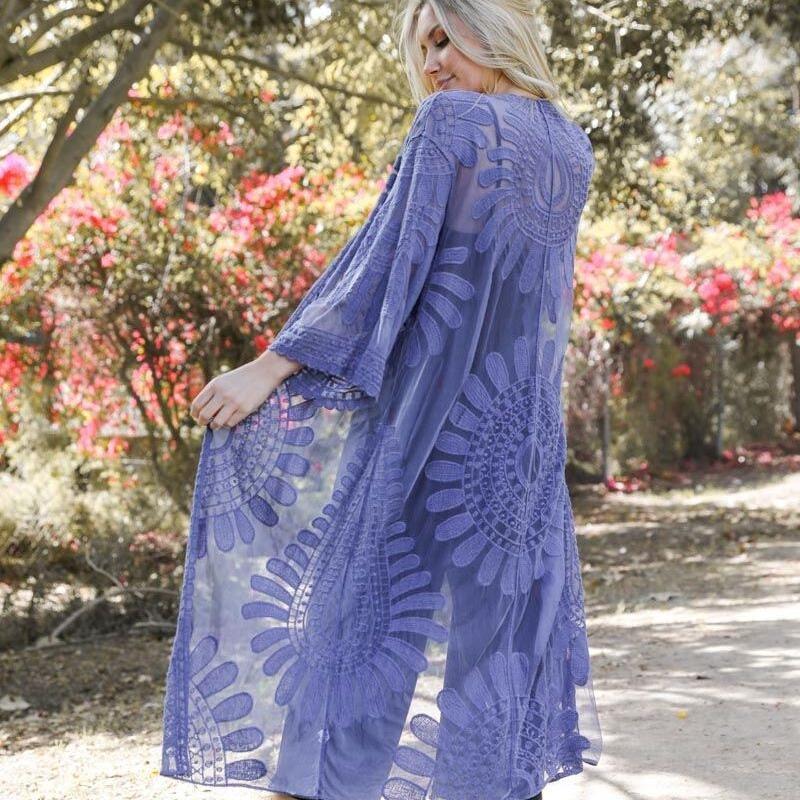 Blue Bohemian Lace Kimono