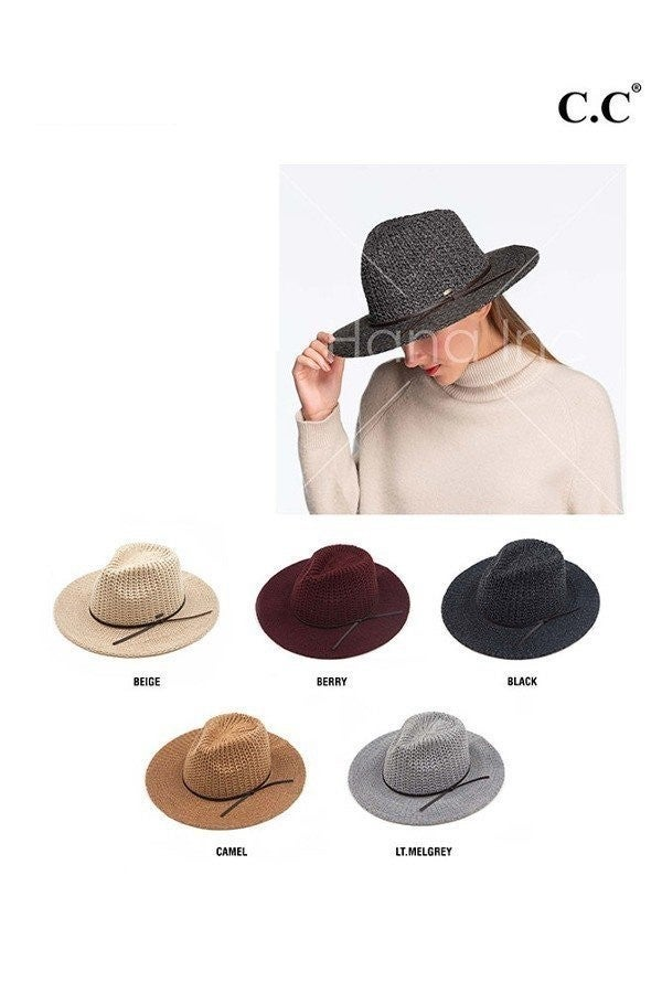 CC Knitted Fedora Hat with Leather String