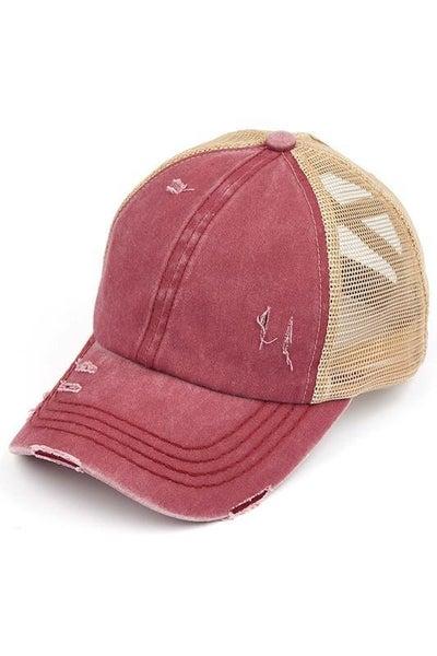 Distressed Criss Cross Ponytail Baseball Hat Vintage Red