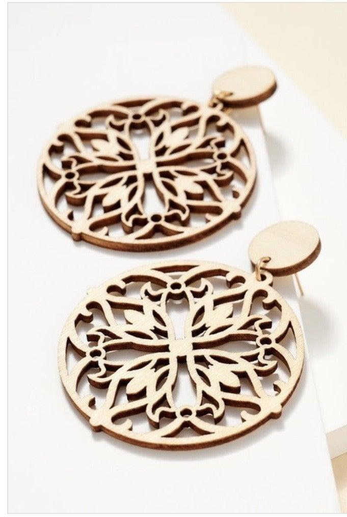 Detailed Wooden Earrings (3 Colors)