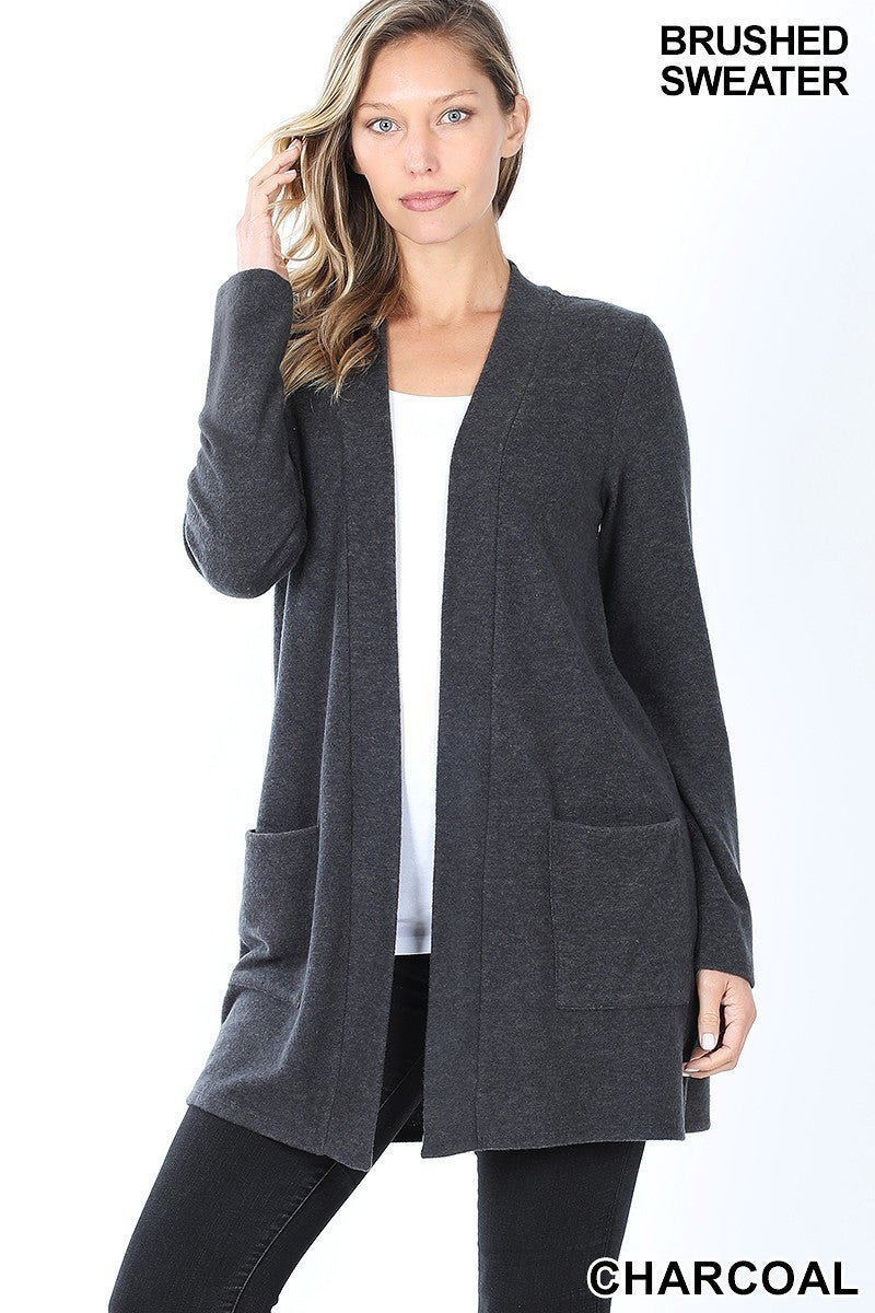 Brushed Knit Charcoal Open Cardigan