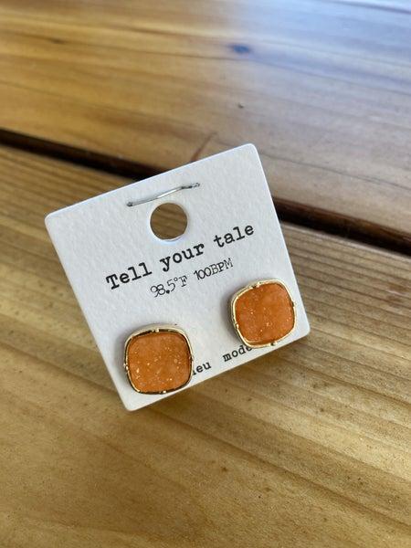 Druzy Stud Earring in Orange