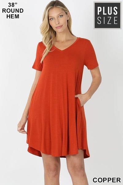Curvy T-Shirt Dress in Copper