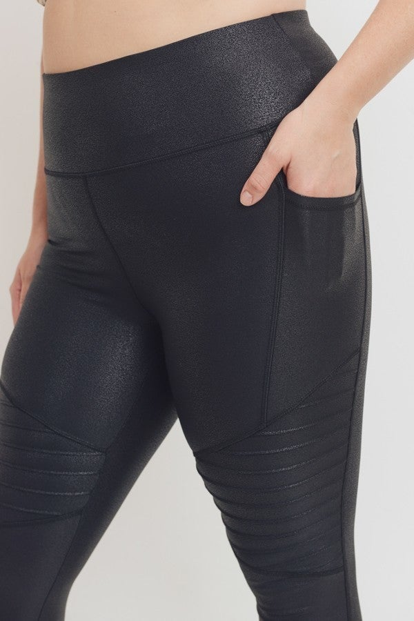 Curvy Moto Faux Leather Legging by Mono B
