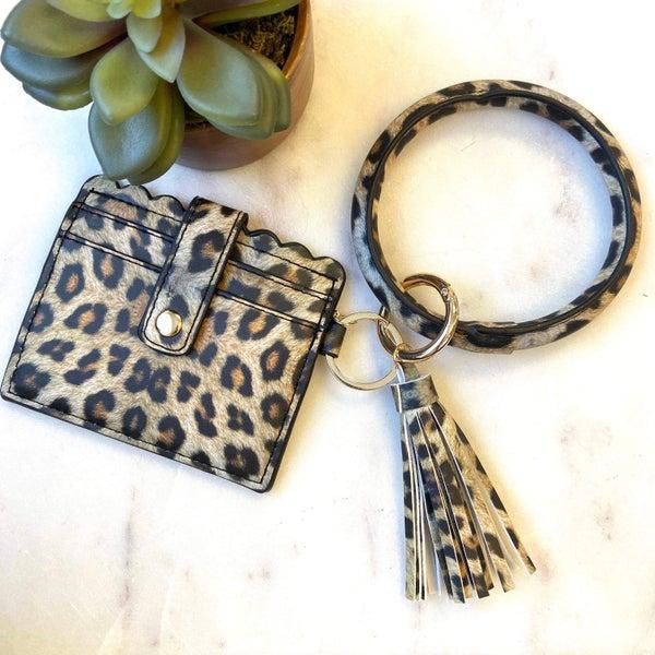 Leopard Keyring Holder with tassel