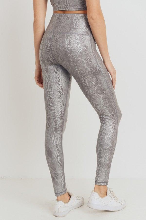 Silver Snake Print Legging by Mono B (all sizes)