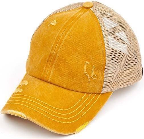 Distressed Criss Cross Ponytail Baseball Hat in Mustard