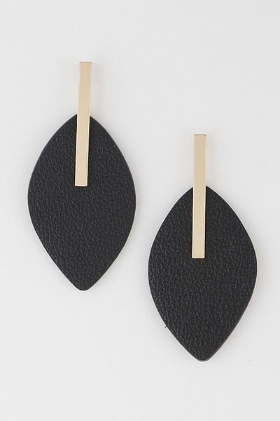 Lightweight Faux Leather Earring with Gold Contrast (Multiple Colors)