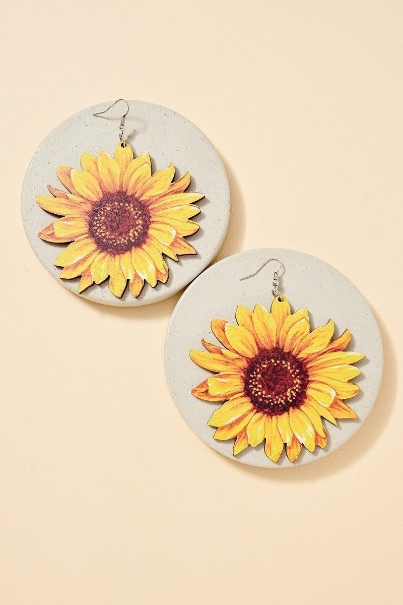 Large Wooden Sunflower Earring