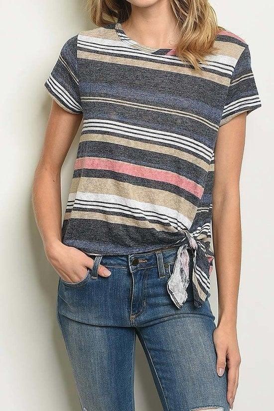 Multi Stripe tie top