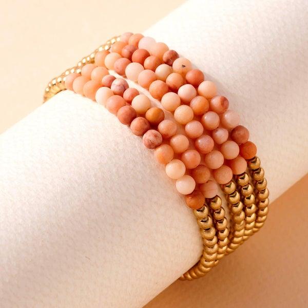 Stone Metal Beaded Stretchy Bracelet Set- Pink