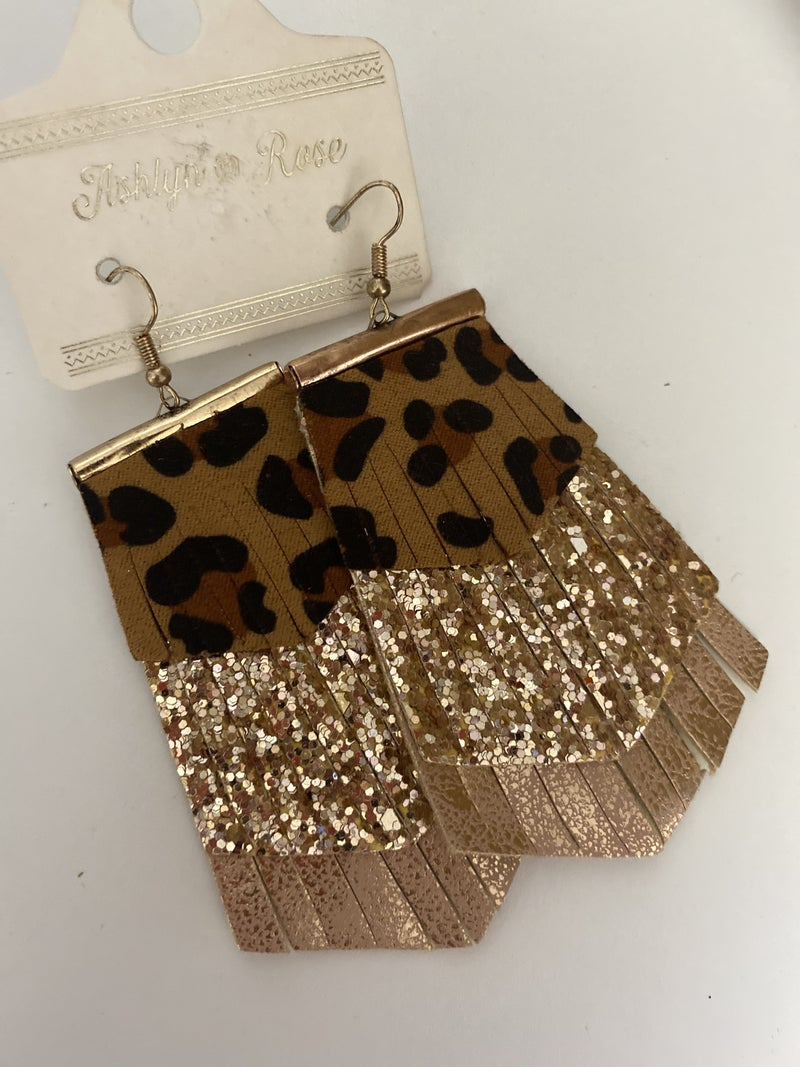 Cheetah Contrast Faux Leather Earring