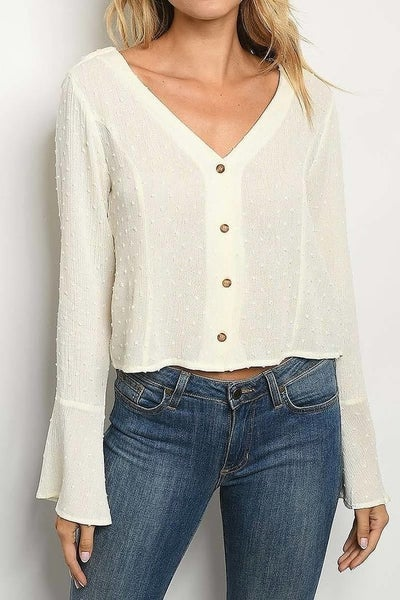 Swiss Dot Bell Sleeve Top