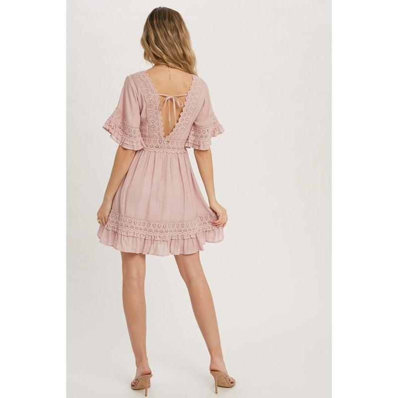 Danielle Lace Dress in Pink