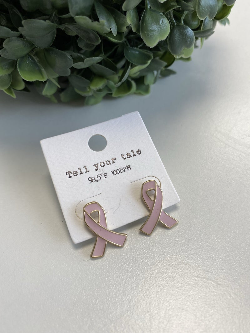Pink Ribbon Stud Earring
