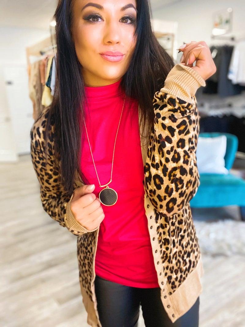 Leopard Button Snap Cardigan