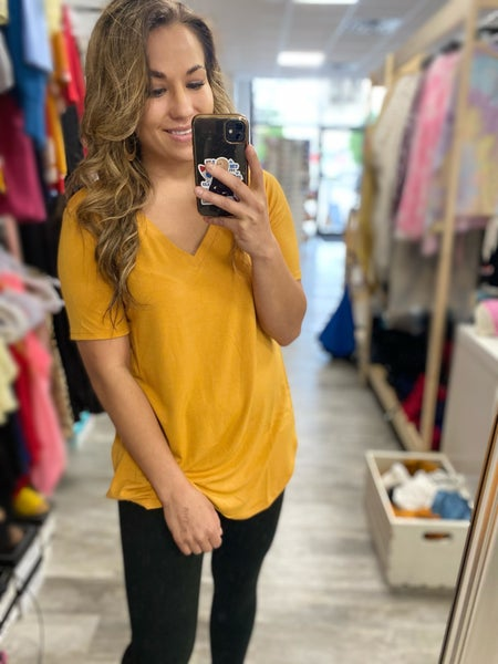 Rebecca Basic Tee in Mustard (all sizes)