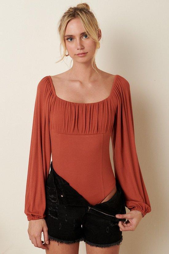 Ambitious Babe Bodysuit in Marsala