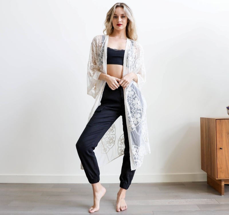 Taylor Lace Kimono in Ivory