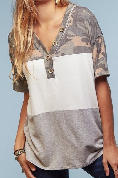 Camo Button Colorblock Top (all sizes)