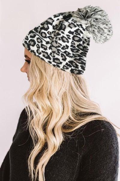 White Leopard Pom Beanie