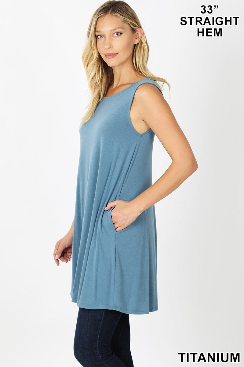 Sleeveless Tunic with Side Pockets