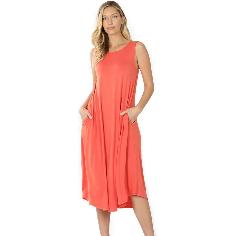 Sleeveless Round Neck Pocket Dress