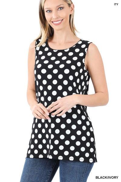Sleeveless Polka Dot Top with side slits