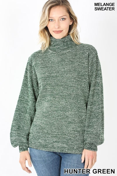 Mélange Balloon Sleeve Turtleneck Sweater