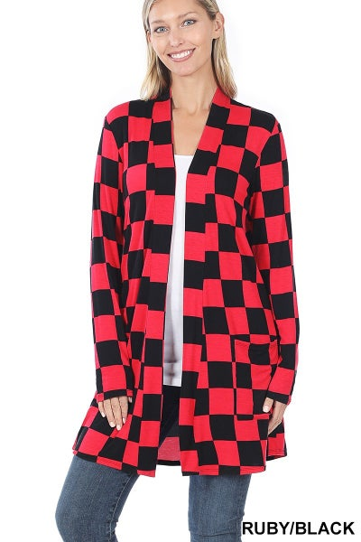 Checkered Mid-Thigh slouchy pocket cardigan