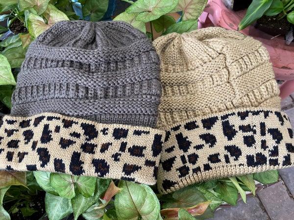 Knit Leopard Beanie