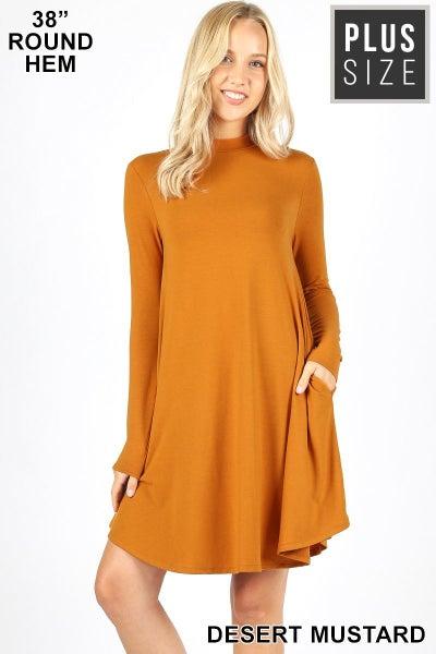 Mock Neck Long Sleeve Dress w/ pockets