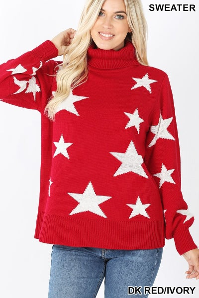 Star Pattern Turtleneck Sweater