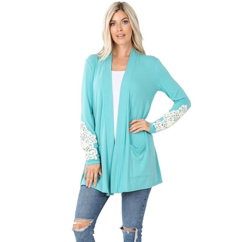 Lace Sleeve Slouchy Pocket Cardigan