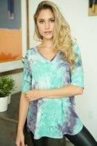 Aqua Tie Dye Top