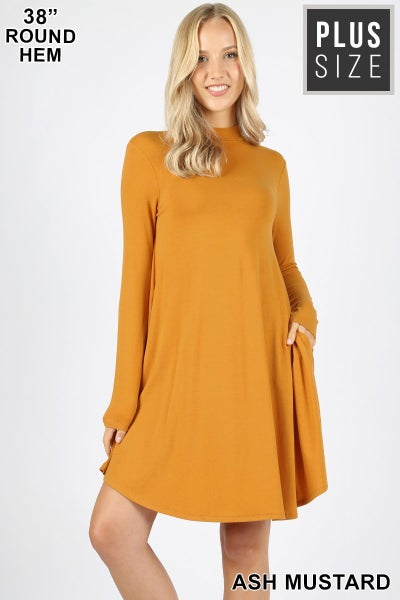 Mock Neck Long Sleeve Dress w/ pockets