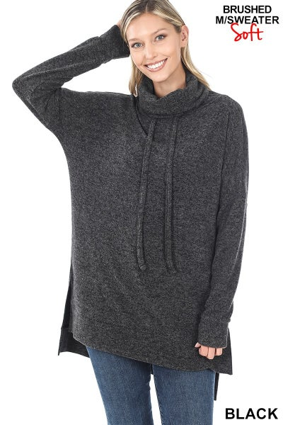 Brushed Melange Funnel neck side slit tunic sweater