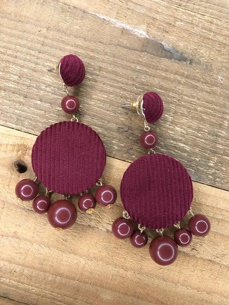 Corduroy Wood Bead Earrings