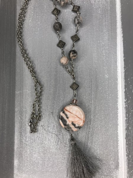 Silver Stone Tassel Drop Necklace