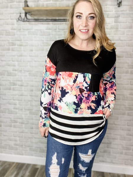 Color Block Lace Back Long Sleeve