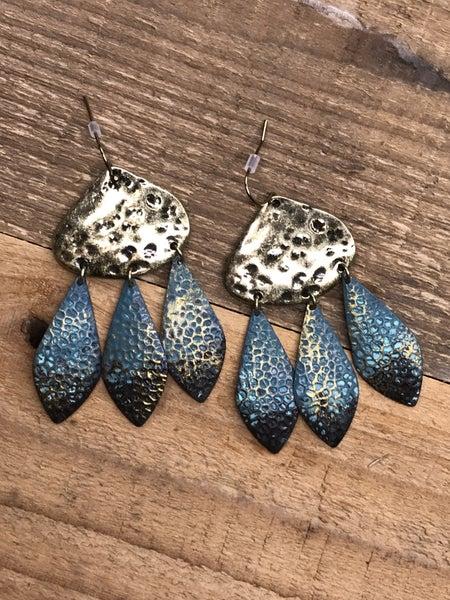 Hammered Metal Drop Dangle Earrings