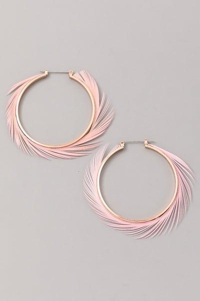 Feather Swirl Hoop Earrings
