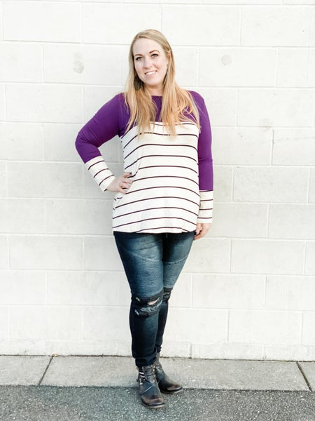 Solid and Stripe Button Top