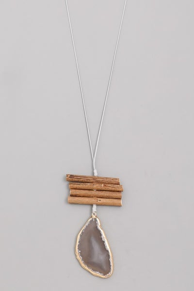 Stacked Wood Precious Stone Pendant Necklace