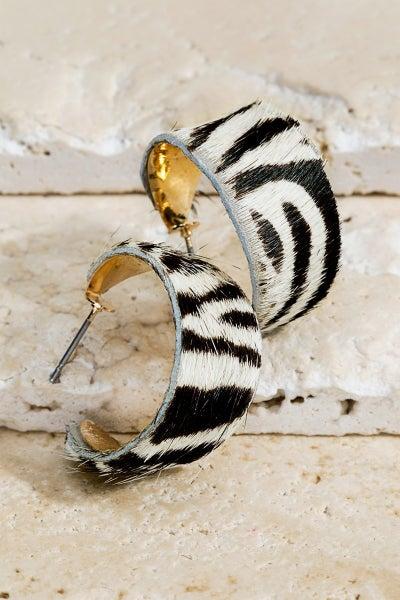 Zebra Hoop Earrings
