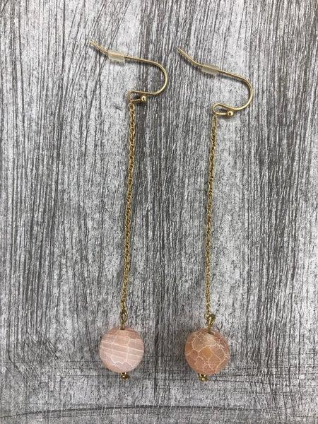 Stone Drop Ball Earrings